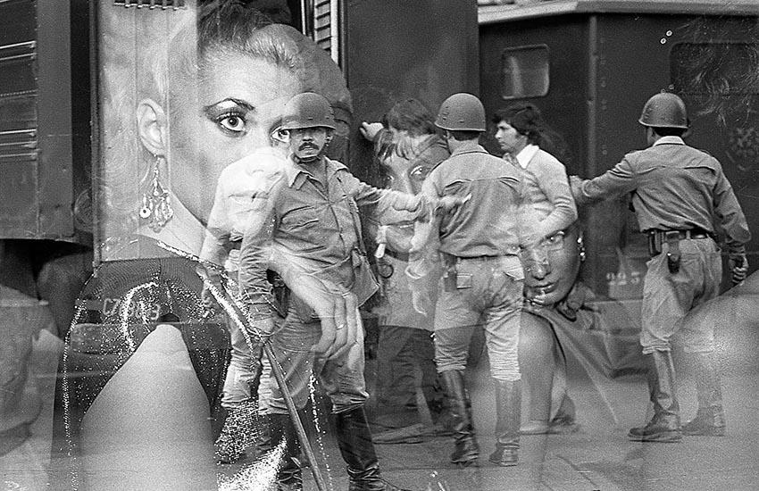 Sobre exposición accidental. El 30 de marzo de 1982 hice fotos durante la represión de la marcha convocada por la CGT en el centro de la capital. Dias después, cubrí una fiesta en la discoteca New York Citi. La fecha del sobre de archivo dice: 2 de abril de 1982.